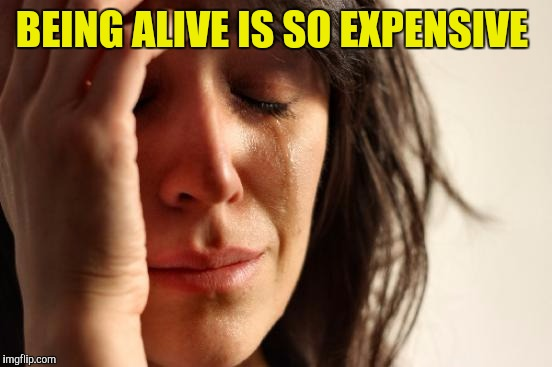 First World Problems Meme | BEING ALIVE IS SO EXPENSIVE | image tagged in memes,first world problems | made w/ Imgflip meme maker