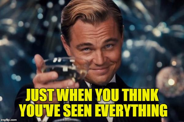 Leonardo Dicaprio Cheers Meme | JUST WHEN YOU THINK YOU'VE SEEN EVERYTHING | image tagged in memes,leonardo dicaprio cheers | made w/ Imgflip meme maker