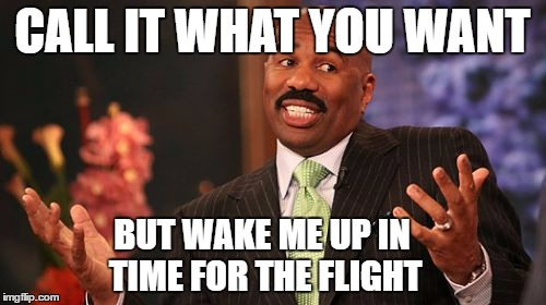 Steve Harvey Meme | CALL IT WHAT YOU WANT BUT WAKE ME UP IN TIME FOR THE FLIGHT | image tagged in memes,steve harvey | made w/ Imgflip meme maker