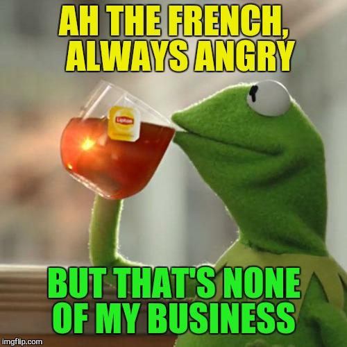 But Thats None Of My Business Meme | AH THE FRENCH,  ALWAYS ANGRY BUT THAT'S NONE OF MY BUSINESS | image tagged in memes,but thats none of my business,kermit the frog | made w/ Imgflip meme maker