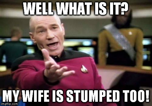Picard Wtf Meme | WELL WHAT IS IT? MY WIFE IS STUMPED TOO! | image tagged in memes,picard wtf | made w/ Imgflip meme maker