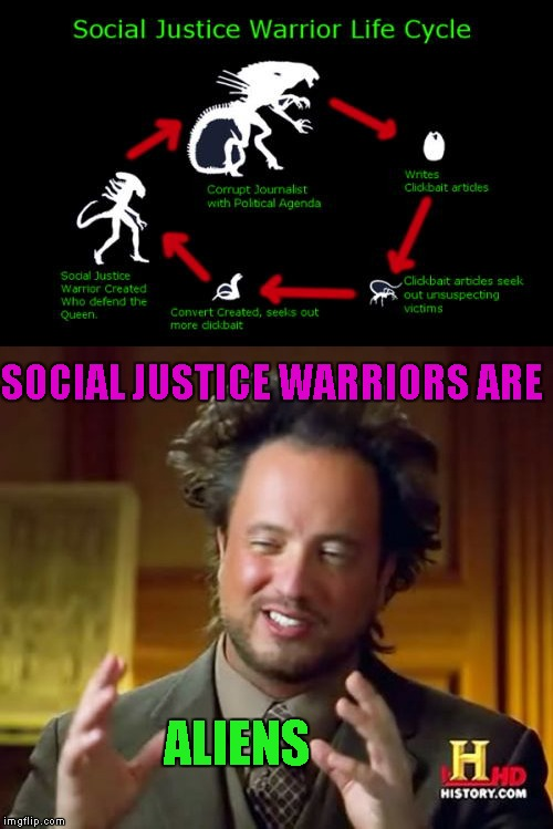 Social justice warriors are ancient aliens! | SOCIAL JUSTICE WARRIORS ARE ALIENS | image tagged in social justice warrior,memes,funny,ancient aliens,georgio,aliens | made w/ Imgflip meme maker