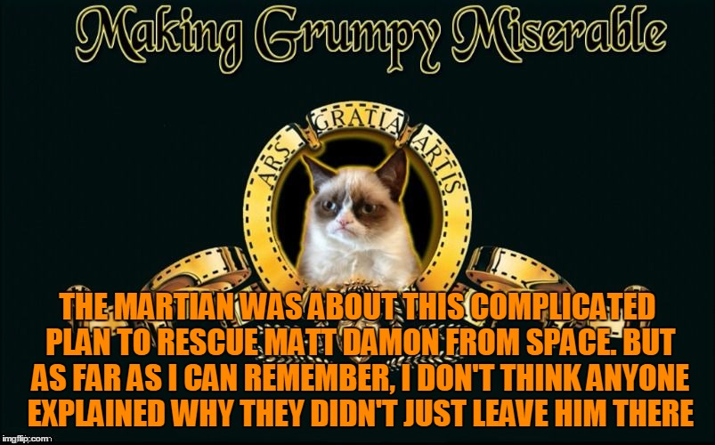One Potato, Two Potato | THE MARTIAN WAS ABOUT THIS COMPLICATED PLAN TO RESCUE MATT DAMON FROM SPACE. BUT AS FAR AS I CAN REMEMBER, I DON'T THINK ANYONE EXPLAINED WH | image tagged in mgm grumpy,memes,grumpy cat,grumpy cat movie review,matt damon,the martian | made w/ Imgflip meme maker