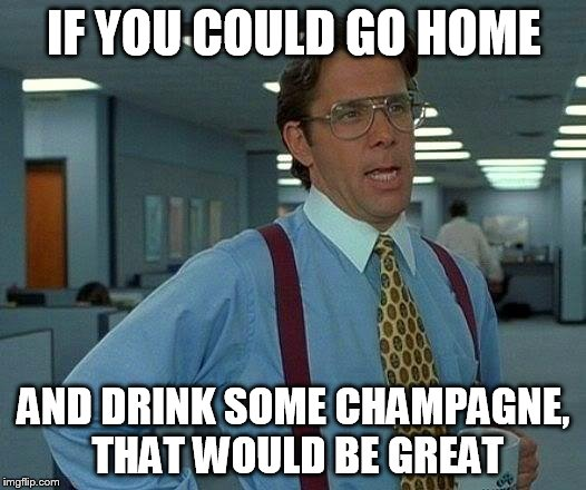 That Would Be Great Meme | IF YOU COULD GO HOME AND DRINK SOME CHAMPAGNE, THAT WOULD BE GREAT | image tagged in memes,that would be great | made w/ Imgflip meme maker