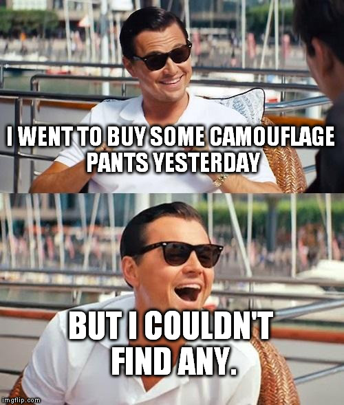 Leonardo Dicaprio Wolf Of Wall Street Meme | I WENT TO BUY SOME CAMOUFLAGE PANTS YESTERDAY BUT I COULDN'T FIND ANY. | image tagged in memes,leonardo dicaprio wolf of wall street | made w/ Imgflip meme maker