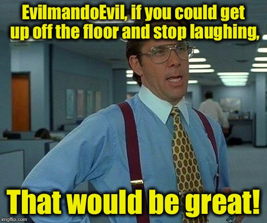 That Would Be Great Meme | EvilmandoEvil, if you could get up off the floor and stop laughing, That would be great! | image tagged in memes,that would be great | made w/ Imgflip meme maker