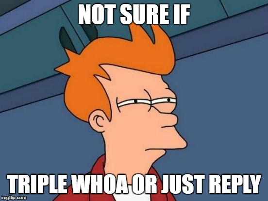 Futurama Fry Meme | NOT SURE IF TRIPLE WHOA OR JUST REPLY | image tagged in memes,futurama fry | made w/ Imgflip meme maker
