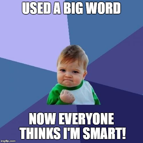 Success Kid Meme | USED A BIG WORD NOW EVERYONE THINKS I'M SMART! | image tagged in memes,success kid | made w/ Imgflip meme maker