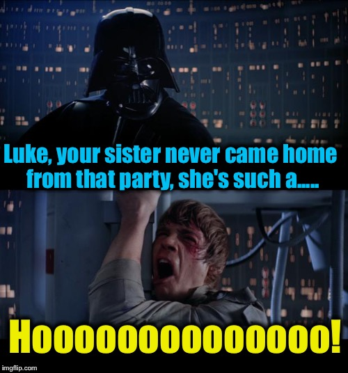Star Wars Ho No | Luke, your sister never came home from that party, she's such a..... Hoooooooooooooo! | image tagged in memes,star wars no,evilmandoevil,funny | made w/ Imgflip meme maker