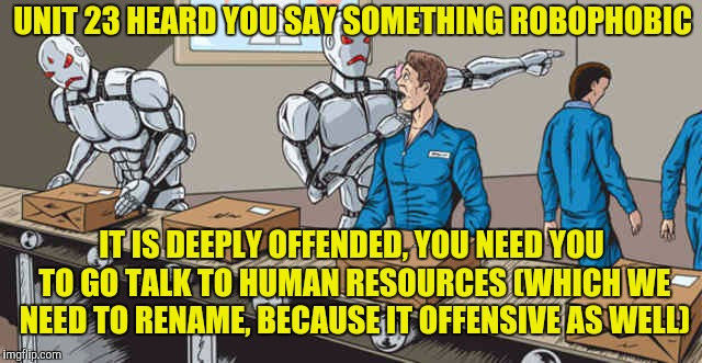 And the movement to not offend anyone or anything continues | UNIT 23 HEARD YOU SAY SOMETHING ROBOPHOBIC IT IS DEEPLY OFFENDED, YOU NEED YOU TO GO TALK TO HUMAN RESOURCES (WHICH WE NEED TO RENAME, BECAU | image tagged in human robots,memes | made w/ Imgflip meme maker