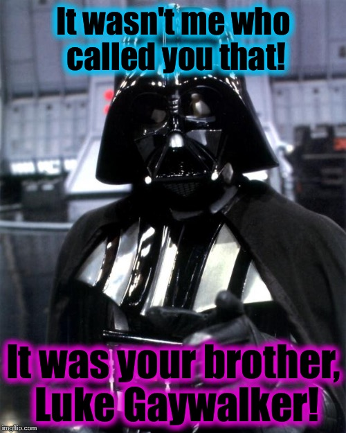 Darth | It wasn't me who called you that! It was your brother, Luke Gaywalker! | image tagged in darth | made w/ Imgflip meme maker