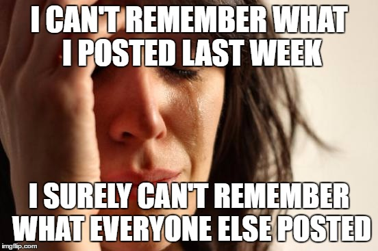 First World Problems Meme | I CAN'T REMEMBER WHAT I POSTED LAST WEEK I SURELY CAN'T REMEMBER WHAT EVERYONE ELSE POSTED | image tagged in memes,first world problems | made w/ Imgflip meme maker