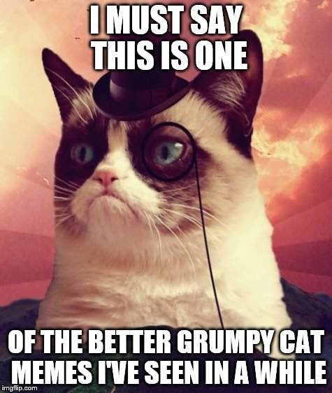 I MUST SAY THIS IS ONE OF THE BETTER GRUMPY CAT MEMES I'VE SEEN IN A WHILE | made w/ Imgflip meme maker