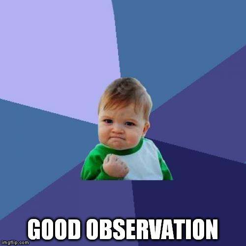 Success Kid Meme | GOOD OBSERVATION | image tagged in memes,success kid | made w/ Imgflip meme maker
