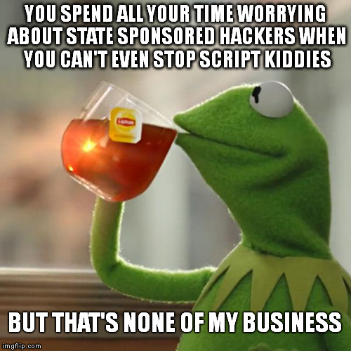 But That's None Of My Business Meme |  YOU SPEND ALL YOUR TIME WORRYING ABOUT STATE SPONSORED HACKERS WHEN YOU CAN'T EVEN STOP SCRIPT KIDDIES; BUT THAT'S NONE OF MY BUSINESS | image tagged in memes,but thats none of my business,kermit the frog | made w/ Imgflip meme maker