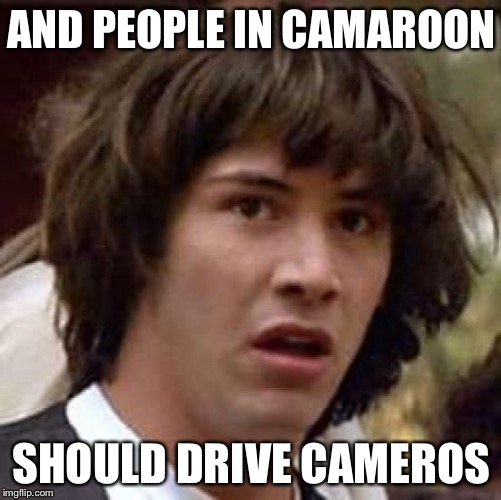 Conspiracy Keanu Meme | AND PEOPLE IN CAMAROON SHOULD DRIVE CAMEROS | image tagged in memes,conspiracy keanu | made w/ Imgflip meme maker