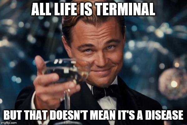 Leonardo Dicaprio Cheers Meme | ALL LIFE IS TERMINAL BUT THAT DOESN'T MEAN IT'S A DISEASE | image tagged in memes,leonardo dicaprio cheers | made w/ Imgflip meme maker