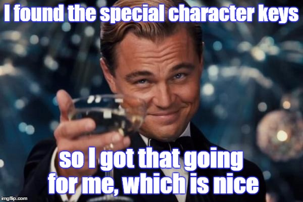 Leonardo Dicaprio Cheers Meme | I found the special character keys so I got that going for me, which is nice | image tagged in memes,leonardo dicaprio cheers | made w/ Imgflip meme maker