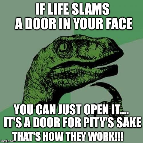 Philosoraptor Meme | IF LIFE SLAMS A DOOR IN YOUR FACE YOU CAN JUST OPEN IT.... IT'S A DOOR FOR PITY'S SAKE THAT'S HOW THEY WORK!!! | image tagged in memes,philosoraptor | made w/ Imgflip meme maker