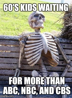 Waiting Skeleton Meme | 60'S KIDS WAITING FOR MORE THAN ABC, NBC, AND CBS | image tagged in memes,waiting skeleton | made w/ Imgflip meme maker