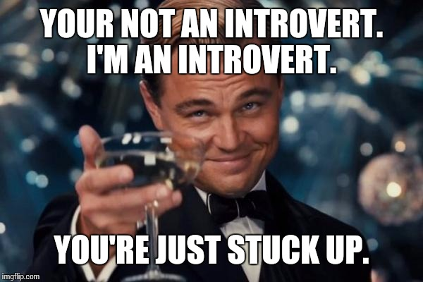 Leonardo Dicaprio Cheers Meme |  YOUR NOT AN INTROVERT. I'M AN INTROVERT. YOU'RE JUST STUCK UP. | image tagged in memes,leonardo dicaprio cheers | made w/ Imgflip meme maker