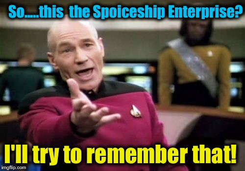 Picard Wtf Meme | So.....this  the Spoiceship Enterprise? I'll try to remember that! | image tagged in memes,picard wtf | made w/ Imgflip meme maker