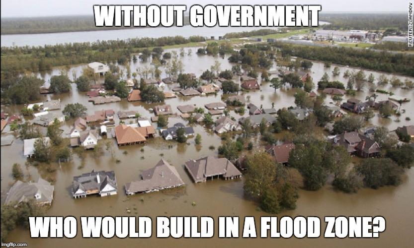 Without government..... | WITHOUT GOVERNMENT WHO WOULD BUILD IN A FLOOD ZONE? | image tagged in flood,louisiana,government,muh roads | made w/ Imgflip meme maker