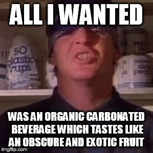 Hipster Psycho Mike  | ALL I WANTED WAS AN ORGANIC CARBONATED BEVERAGE WHICH TASTES LIKE AN OBSCURE AND EXOTIC FRUIT | image tagged in punk,music,psycho,organic,funny memes,mental hospital | made w/ Imgflip meme maker