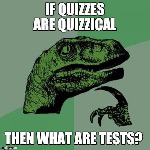 Think about it when you take your next test  | IF QUIZZES ARE QUIZZICAL THEN WHAT ARE TESTS? | image tagged in memes,philosoraptor | made w/ Imgflip meme maker