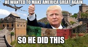 HE WANTED TO MAKE AMERICA GREAT AGAIN; SO HE DID THIS | image tagged in trump,great wall of trump | made w/ Imgflip meme maker