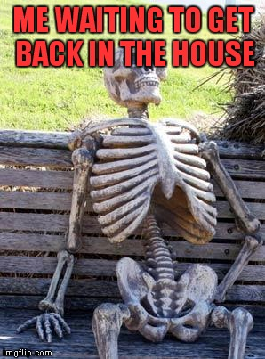 Waiting Skeleton Meme | ME WAITING TO GET BACK IN THE HOUSE | image tagged in memes,waiting skeleton | made w/ Imgflip meme maker
