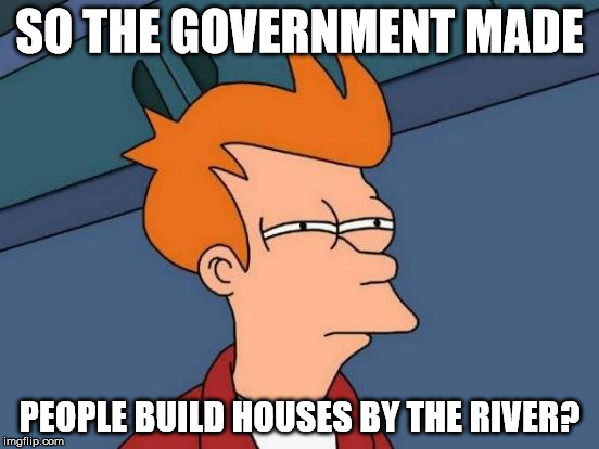 Futurama Fry Meme | SO THE GOVERNMENT MADE PEOPLE BUILD HOUSES BY THE RIVER? | image tagged in memes,futurama fry | made w/ Imgflip meme maker