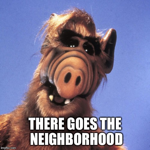 Alf  | THERE GOES THE NEIGHBORHOOD | image tagged in alf | made w/ Imgflip meme maker