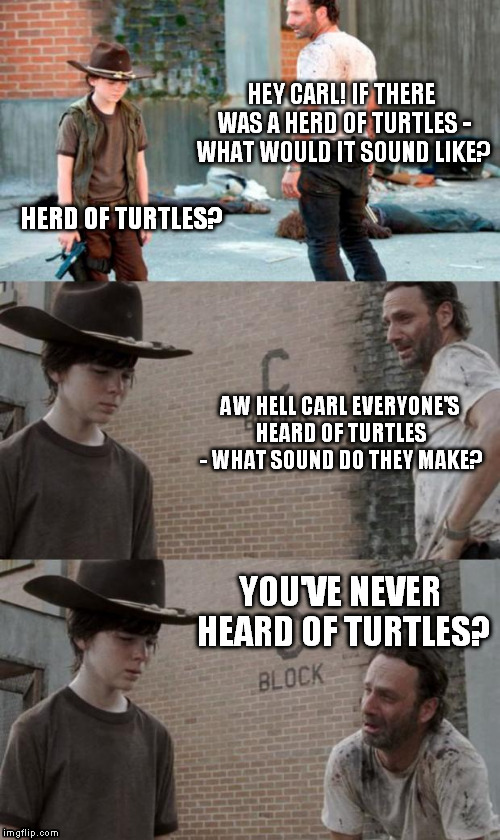 Noiseless Creep  | HEY CARL! IF THERE WAS A HERD OF TURTLES - WHAT WOULD IT SOUND LIKE? HERD OF TURTLES? AW HELL CARL EVERYONE'S HEARD OF TURTLES - WHAT SOUND  | image tagged in memes,rick and carl 3,HeyCarl | made w/ Imgflip meme maker