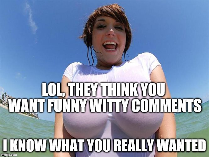 LOL, THEY THINK YOU WANT FUNNY WITTY COMMENTS I KNOW WHAT YOU REALLY WANTED | made w/ Imgflip meme maker