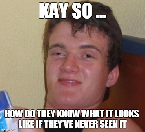 10 Guy Meme | KAY SO ... HOW DO THEY KNOW WHAT IT LOOKS LIKE IF THEY'VE NEVER SEEN IT | image tagged in memes,10 guy | made w/ Imgflip meme maker