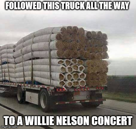 Rolled Sod | FOLLOWED THIS TRUCK ALL THE WAY TO A WILLIE NELSON CONCERT | image tagged in rolled sod | made w/ Imgflip meme maker