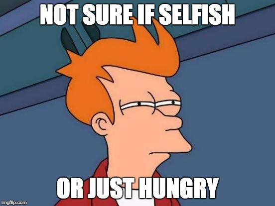 When your brother eats all the chips | NOT SURE IF SELFISH OR JUST HUNGRY | image tagged in memes,futurama fry | made w/ Imgflip meme maker