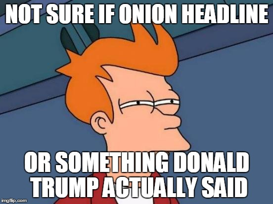 Futurama Fry Meme | NOT SURE IF ONION HEADLINE OR SOMETHING DONALD TRUMP ACTUALLY SAID | image tagged in memes,futurama fry | made w/ Imgflip meme maker