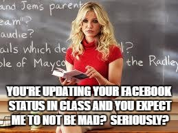 Bad Teacher | YOU'RE UPDATING YOUR FACEBOOK STATUS IN CLASS AND YOU EXPECT ME TO NOT BE MAD?  SERIOUSLY? | image tagged in bad teacher | made w/ Imgflip meme maker