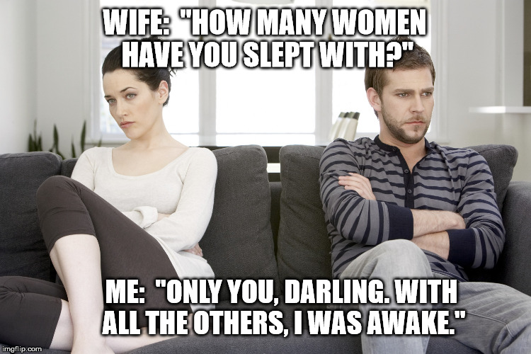 "couple arguing | WIFE:  ""HOW MANY WOMEN HAVE YOU SLEPT WITH?"" ME:  ""ONLY YOU, DARLING. WITH ALL THE OTHERS, I WAS AWAKE."" 