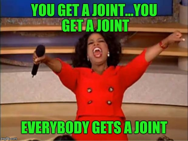 Oprah You Get A Meme | YOU GET A JOINT...YOU GET A JOINT EVERYBODY GETS A JOINT | image tagged in memes,oprah you get a | made w/ Imgflip meme maker