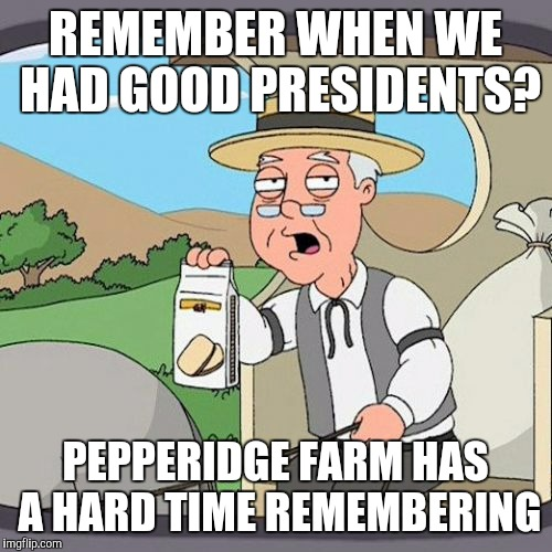 Reagan, Ike, and Coolidge were probably the last ones | REMEMBER WHEN WE HAD GOOD PRESIDENTS? PEPPERIDGE FARM HAS A HARD TIME REMEMBERING | image tagged in memes,pepperidge farm remembers,politics,presidents | made w/ Imgflip meme maker