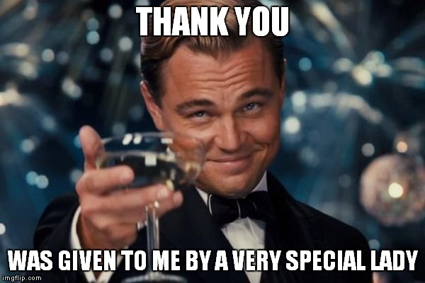 Leonardo Dicaprio Cheers Meme | THANK YOU WAS GIVEN TO ME BY A VERY SPECIAL LADY | image tagged in memes,leonardo dicaprio cheers | made w/ Imgflip meme maker