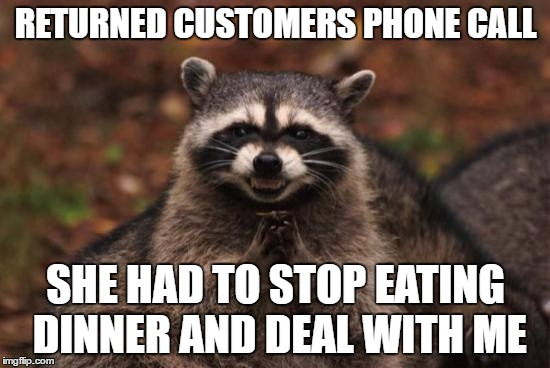 Evil racoon |  RETURNED CUSTOMERS PHONE CALL; SHE HAD TO STOP EATING DINNER AND DEAL WITH ME | image tagged in evil racoon,AdviceAnimals | made w/ Imgflip meme maker