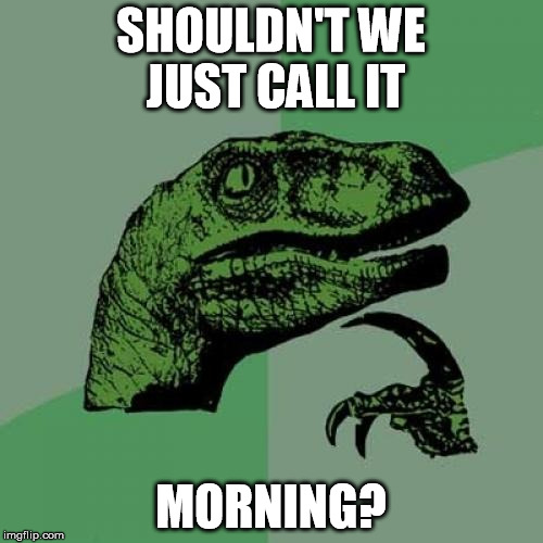Philosoraptor Meme | SHOULDN'T WE JUST CALL IT MORNING? | image tagged in memes,philosoraptor | made w/ Imgflip meme maker