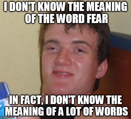 10 Guy Meme | I DON'T KNOW THE MEANING OF THE WORD FEAR IN FACT, I DON'T KNOW THE MEANING OF A LOT OF WORDS | image tagged in memes,10 guy | made w/ Imgflip meme maker