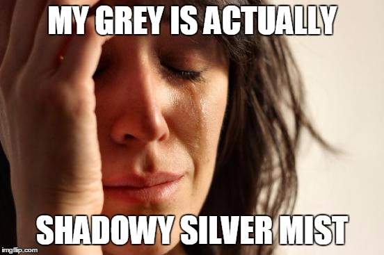 First World Problems Meme | MY GREY IS ACTUALLY SHADOWY SILVER MIST | image tagged in memes,first world problems | made w/ Imgflip meme maker