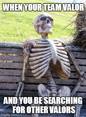 The search for other Valors | WHEN YOUR TEAM VALOR AND YOU BE SEARCHING FOR OTHER VALORS | image tagged in memes,waiting skeleton,pokemon go,team valor | made w/ Imgflip meme maker