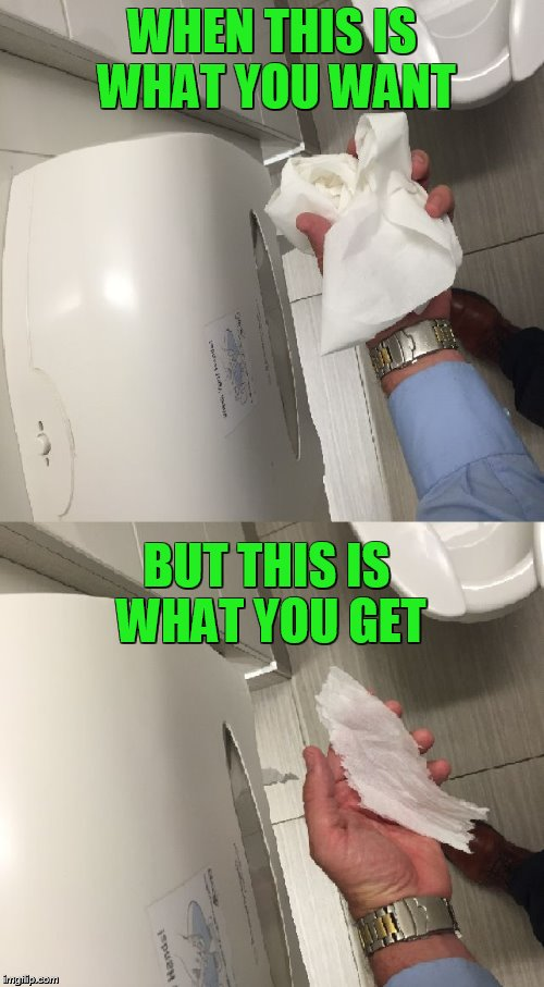 Toilet Paper Blues  | WHEN THIS IS WHAT YOU WANT BUT THIS IS WHAT YOU GET | image tagged in toilet,toilet humor,toilet paper,memes,funny memes,meme | made w/ Imgflip meme maker